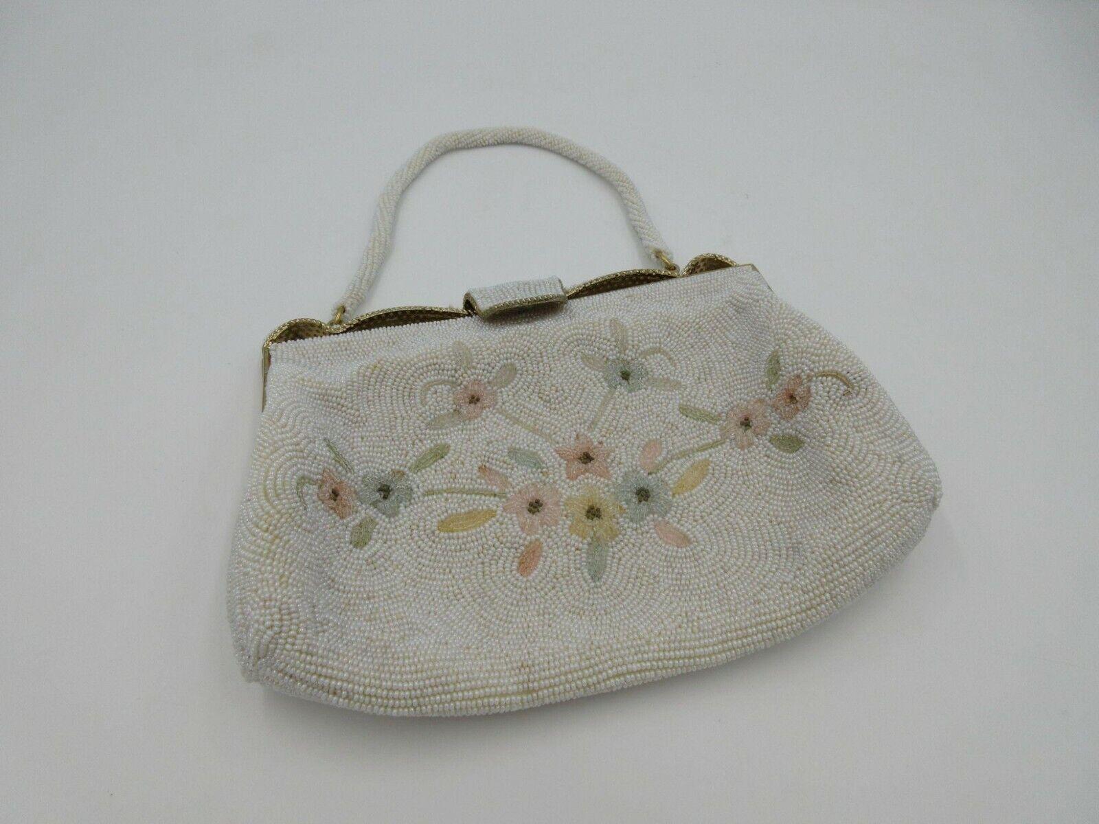 Vintage women's hand beaded floral handbag clutch made in Japan
