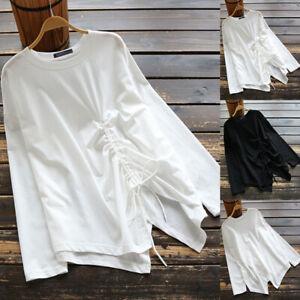 UK-Womens-Long-Sleeve-Irregularity-Hem-Tops-Casual-Loose-Shirts-Blouse-Pullover