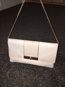 Details about Cream Nude Clutch Bag With A Gold Clasp & Gold Short Over The Shoulder Strap