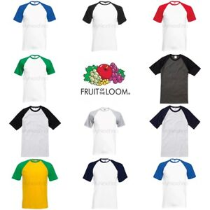 Fruit-of-the-loom-manches-courtes-T-shirt-de-baseball