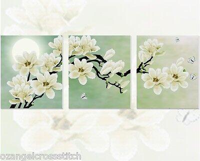 "*New~~Large 5D Precision 12CT Printed Cross Stitch Kit ""Magnolia"" Box-132cm*50cm"