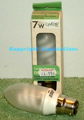 LyvEco Compact Fluorescent Lamp CFL Energy Saving Light Bulb Candle Shape 7 w BC