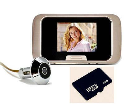 "Free 4GB+EQUES Bright 2.8"" LCD Door Viewer Peephole Camera Cam Video DVR Record"