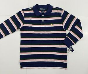New-with-tag-NWT-Boys-RALPH-LAUREN-Navy-Blue-Pink-White-Long-Sleeve-POLO-Shirt-5