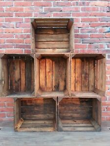 6-Wooden-Crates-Fruit-Apple-Boxes-Vintage-Home-Decor-Cleaned-Vintage-Style