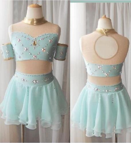 Ice Figure Skating Dress Baton Twirling outfit Tap leotard Made to Fit Y155