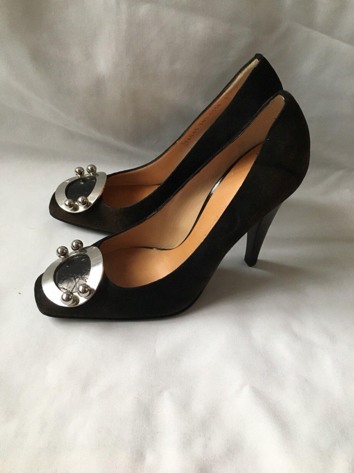 Giuseppe Zanotti Vintage Vintage Vintage Negro Cuero de gamuza tacón Zapatos (Talla 36.5  Precio por piso