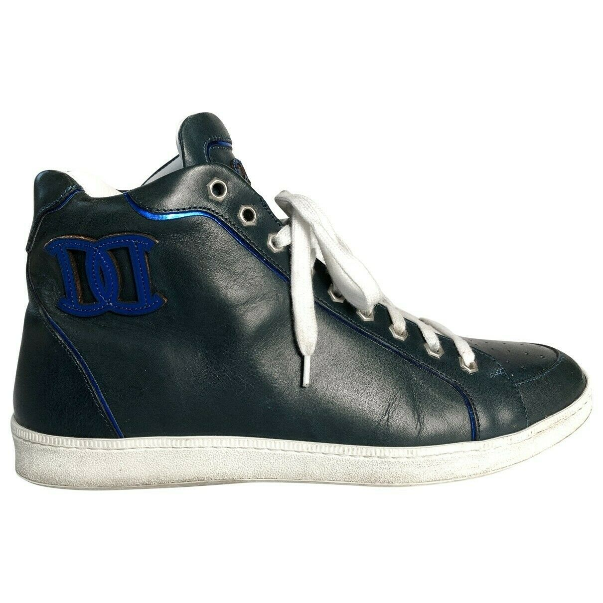 Dsquared2 Navy Blue High Top Trainer Boots with Metallic Detailing 42EU and 8UK