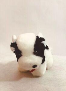 6-034-Vintage-Russ-Berrie-Plush-White-Black-Baby-Cow-Calf-Stuffed-Animal-Toy