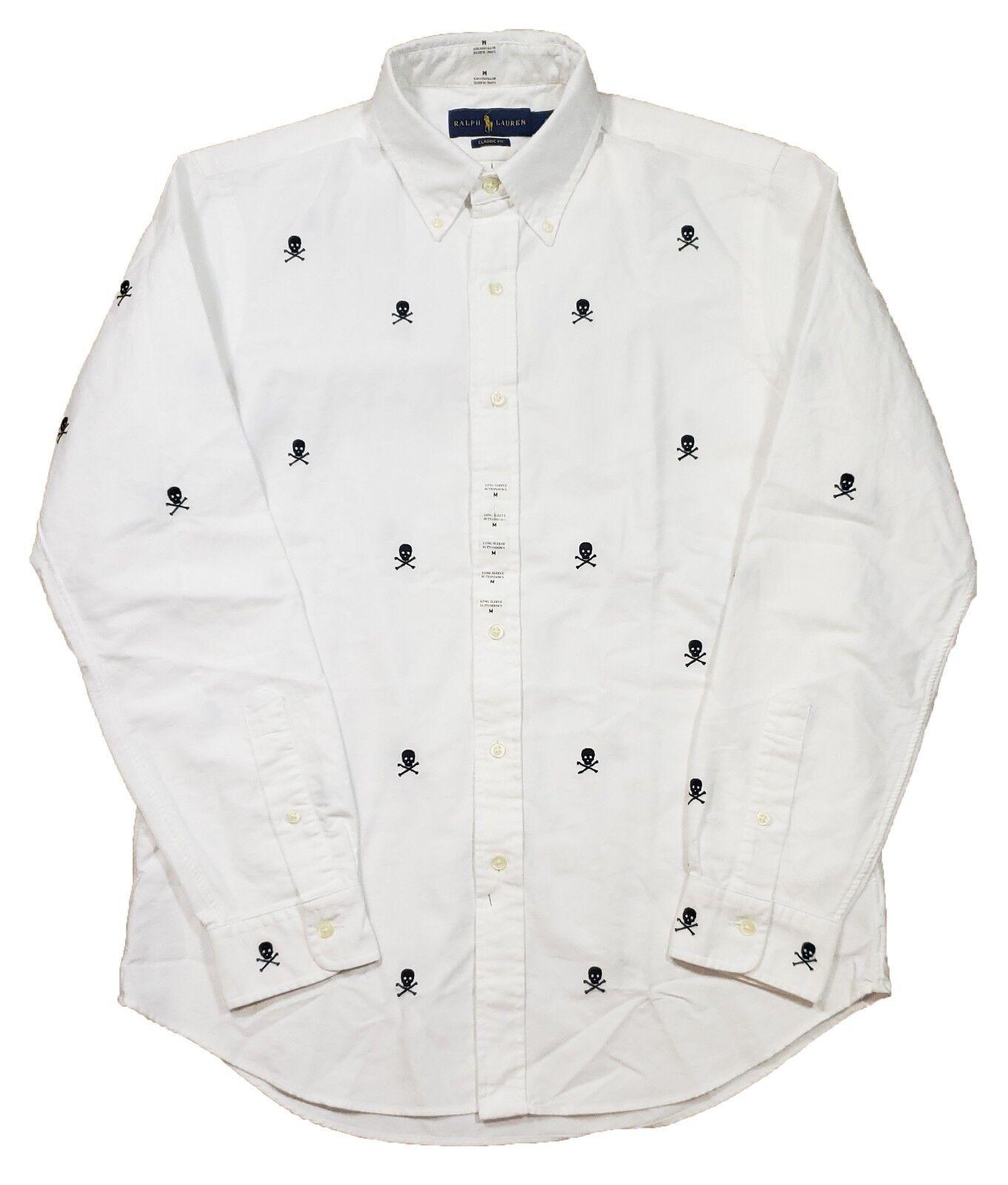 Polo Ralph Lauren Men's White Skull Embroidered Classic Fit Long Sleeve Shirt