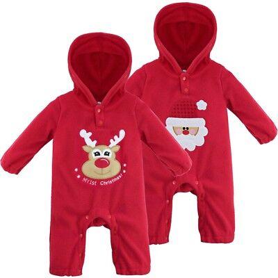 Baby Strampler Langarm Schlafanzug Weihnachten Christmas Santa Muster mit Kapuze