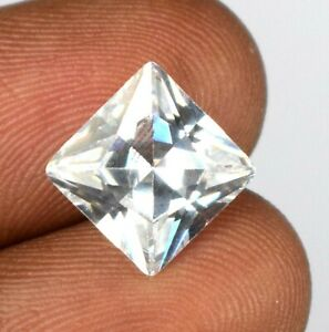 100% Natural White Montana Sapphire 7.80 Ct Gemstone Square Cut Certified A56490
