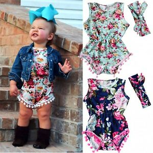 5f37f043c2f1 Image is loading Newborn-Baby-Girl-Floral-Romper-Jumpsuit-Summer-Sunsuit-