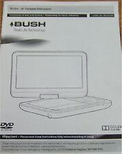 """Bush 10 """"Portable DVD player manuale dell' utente solo libretto"""