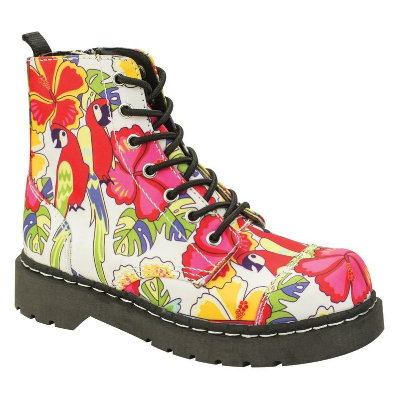 T.U.K T2230 7 Eye Boot Textile In Parrot Tropical Print Textile Boot 18d4fe
