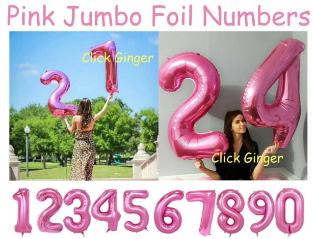 Pink Jumbo Giant Foil Number Balloons Helium Quality Numbered Balloon Age Party