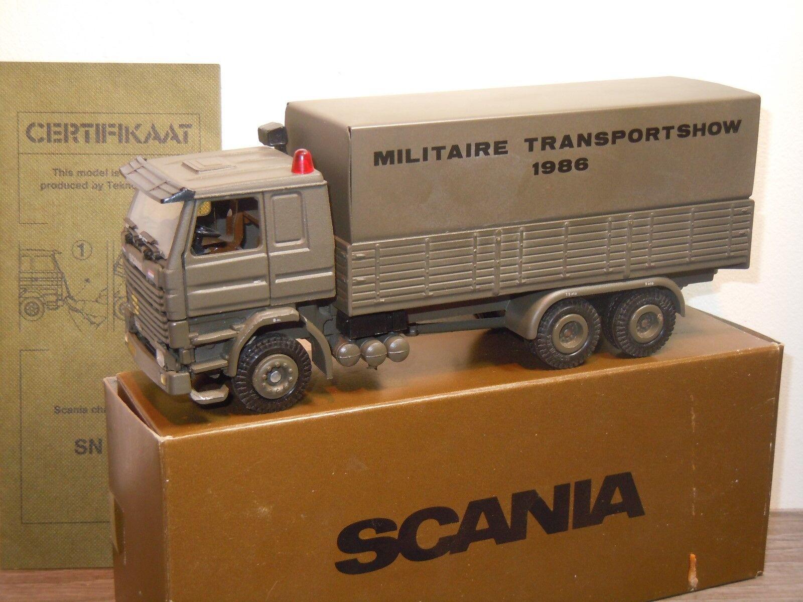 Scania 142M Militaire Transportshow 1986 - Tekno 1 50 in Box 36423