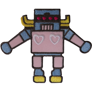 Robot Iron On Patch Sew On Clothes Embroidered Badge Heart Embroidery Applique