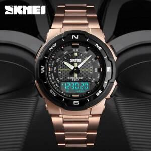SKMEI-Analog-Men-039-s-Quartz-Watch-Stainless-Steel-Luxury-Digital-Sports-Wristwatch