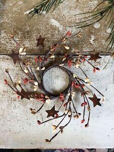 "2"" Pip Berry Candle Ring Mini Wreath Pumpkin Spice Mix Rusty Star Craft Wedding"