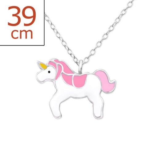"""Children/'s Girls Sterling Silver Blue Unicorn Necklace 15/"""" Horse Necklace W18"""