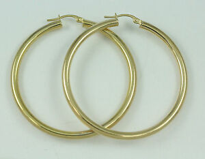 10k-Yellow-Gold-3mm-Thick-Hoop-Earrings-new-2-80g-2551