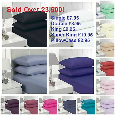"""KING AND PILLOWCASES DOUBLE Extra Deep Percale Fitted Sheets16/"""" SINGLE"""