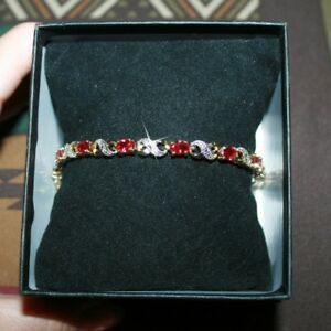Oval-Created-Ruby-Tiny-Diamond-Tennis-Bracelet-14k-Yellow-Gold-over-Silver-Base