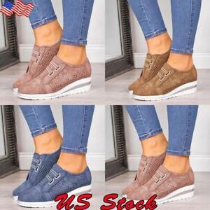 Women-039-s-Casual-Slip-On-Wedge-Sneaker-Girls-Wedge-Heel-hollow-Breathable-Shoes-US