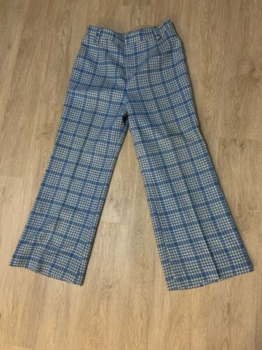Vintage 1970's Blue Plaid Flares Pants Disco Jive