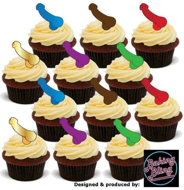 48 Novelty Willy Mix Stand up Edible Cupcake Cake Toppers Bride Hen ...