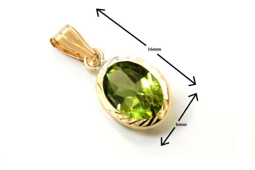 9ct Gold Oval Peridot necklace Pendant no chain Gift Boxed Made in UK
