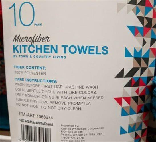 Town & Country Microfiber Kitchen Towels 10 Pack, Red and Waffle