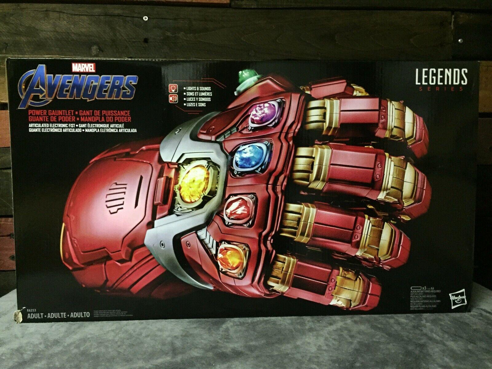 Marvel leggende SERIE AVENGERS mossa finale Adulto Replica energia Gauntlet IRON uomo