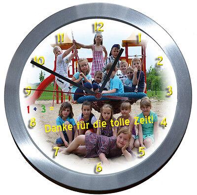 LAUTLOS★ALU>FUNK✿WANDUHR FOTO★WEIHNACHTEN★LERNUHR-Kindergarten-Abschied-Schule