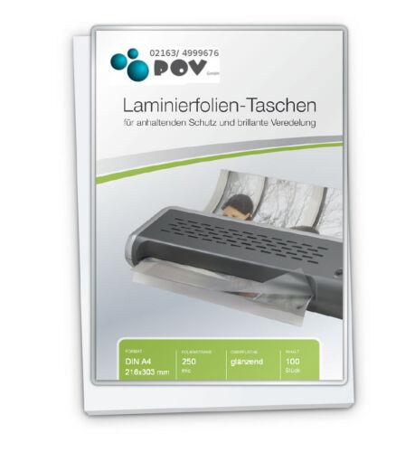 glänzend Laminierfolien A4 2 x 250 mic 216 x 303 mm