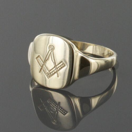 9ct Oro Amarillo Cuadrado Y Brújula masónica Signet Anillo