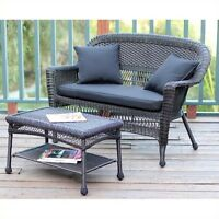 Jeco Wicker Patio Love Seat And Coffee Table Set In Espresso With Black Cushion on sale