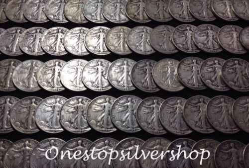 10 Coins $5 Face Half Roll Walking Liberty Half Dollars 90/% Silver Coins