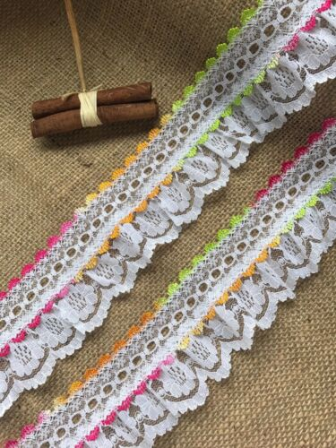 White//Multi Fiesta Ombre  Gathered Lace Double with Eyelet 2.5 inch//6.5 cm