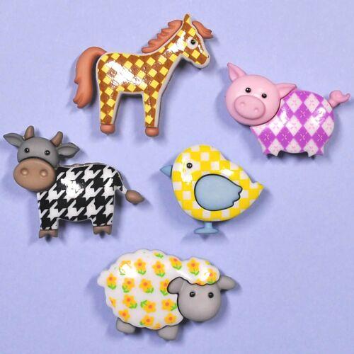 DRESS IT UP Buttons Funky Farm 7693 Embellishments Pig Sheep Horse Cow Bird
