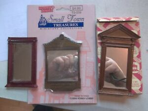 3-Dollhouse-Mirror-039-s-2-New-1-Used-Town-Square-Miniatures-amp-Treasures