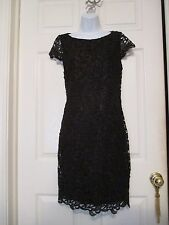 Alice + Olivia black crochet lace open back sheath dress size 6 cocktail party