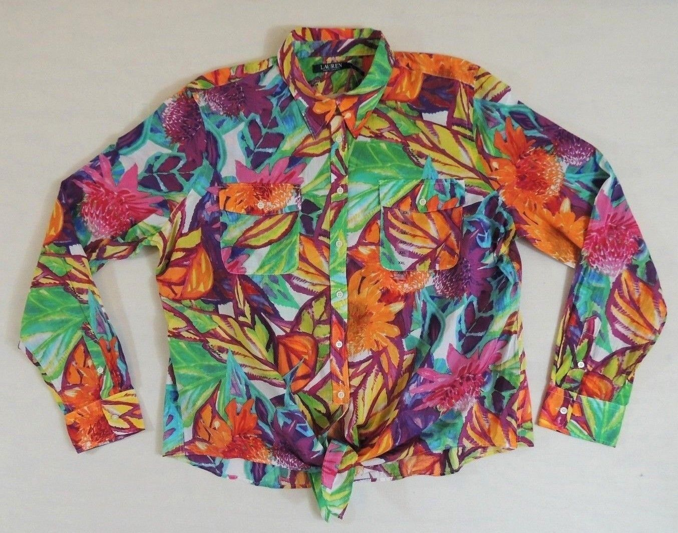 Ralph Lauren Hawaiian Flower Floral Button Down Beach Tie Front Light Top XXL