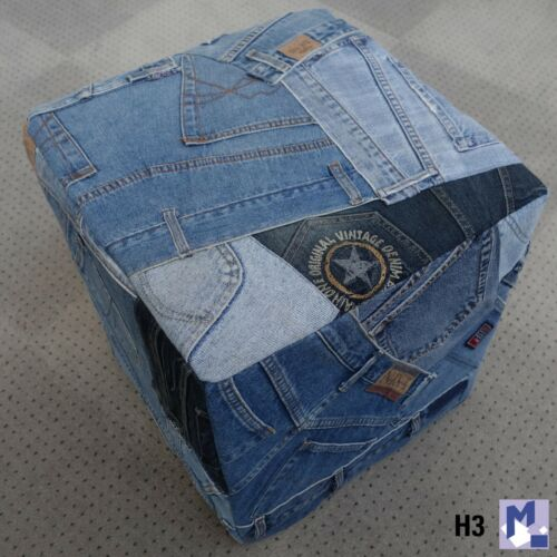 """Shabby Jeans Hocker /""""Denim Pattern/"""" NEU stabil und dekorativ"""