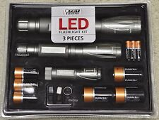 3 FEIT LED FLASHLIGHT HEAVY DUTY SET For Camping Hunting Hiking SUV Car Lights