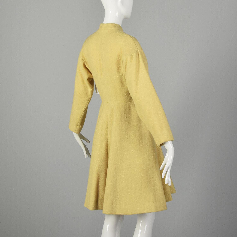Small 1950s Princess Coat Yellow Wool Spring Rock… - image 4