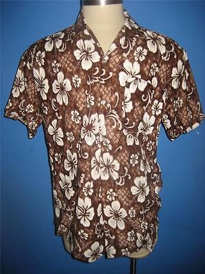Radient Vtg Koko Knot Brown Floral Tiki Hawaiian Camp Disco Shirt L Mint Men's Clothing