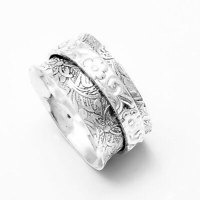 Solid 925 Sterling Silver Wide Band Spinner Ring Jewelry Good Quality Handmade Free Shipping All US Size