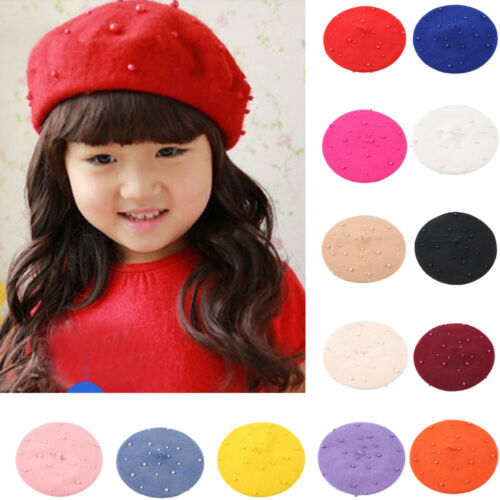 Fashion Winter Toddler Baby Girls Pearly Headgear Warm Beret Kids Hat Cap